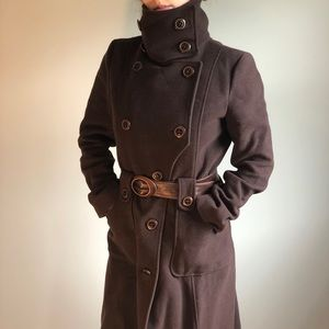 Authentic Mackage Wool & Leather Long Coat Brown